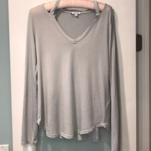 Splendid long sleeve tee with shoulder cutouts